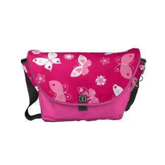 Butterflies and flowers messenger bags