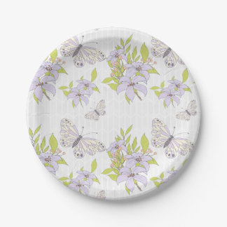 Butterflies And Flowers Pattern Paper Plate