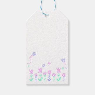 Butterflies and flowers - Pink & Purple Tag