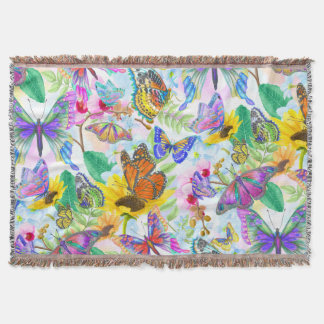 Butterflies and Flowers Throw Blanket