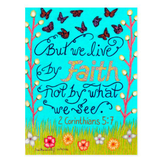 Butterflies And Flowers Typography Bible Verse Postcard