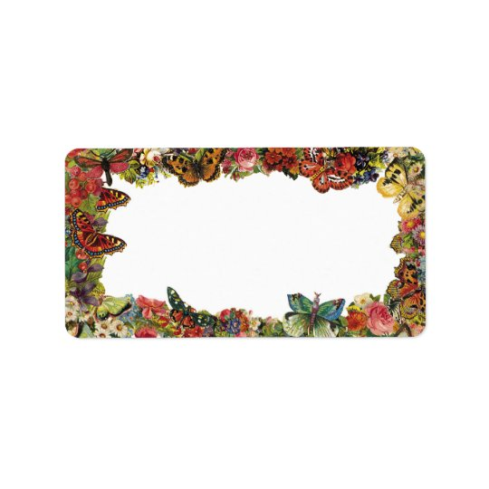 Butterflies and Flowers Vintage Border Address Label