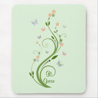 Butterflies and Green Vine Mouse Pad