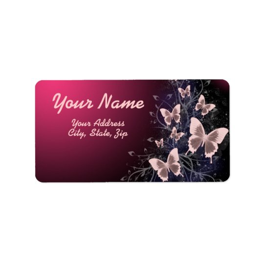 Butterflies and Leaves Label