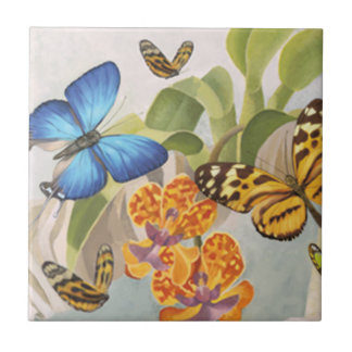 Butterflies and Orchid Tile