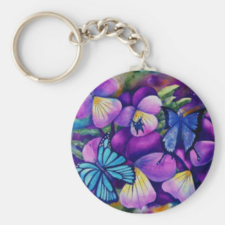 Butterflies and Panseys key chain