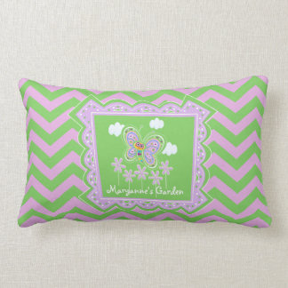 Butterflies and Purple Zigzags Lumbar Pillow