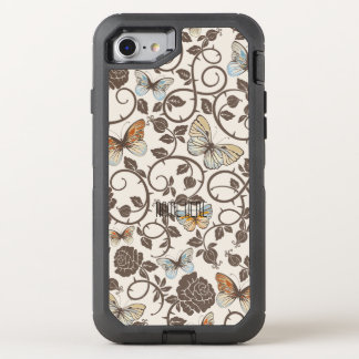 Butterflies and Roses On Cream OtterBox Defender iPhone 8/7 Case