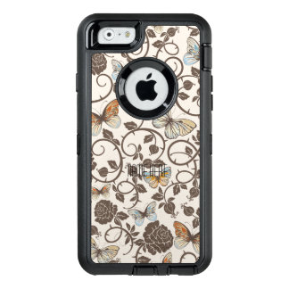 Butterflies and Roses On Cream OtterBox Defender iPhone Case