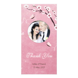Butterflies and SakuraThank You Photo Personalised Photo Card