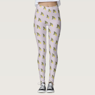 Butterflies and Small Yellow Flowers Leggings