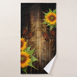 Butterflies and Sunflowers Bath Towel