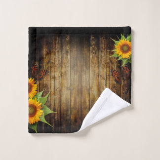 Butterflies and Sunflowers Wash Cloth