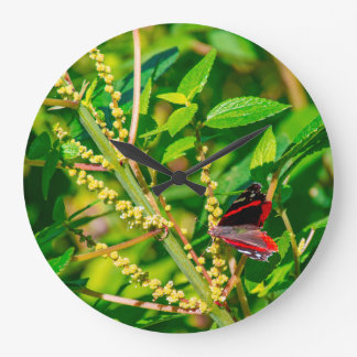 Butterflies and Wildflowers in the Desert Large Clock