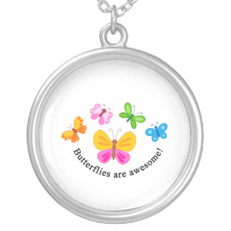 Butterflies are awesome silver plated necklace