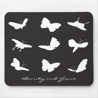 Butterflies Black and White Mouse Pads