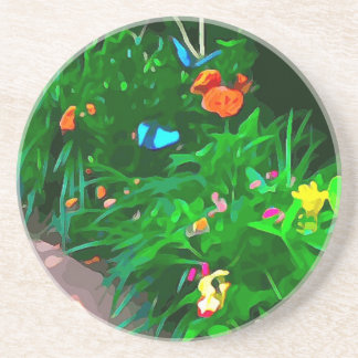 Butterflies Blue Digitized Coaster