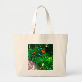Butterflies Blue Digitized Large Tote Bag