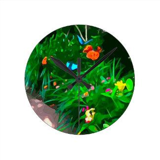 Butterflies Blue Digitized Round Clock