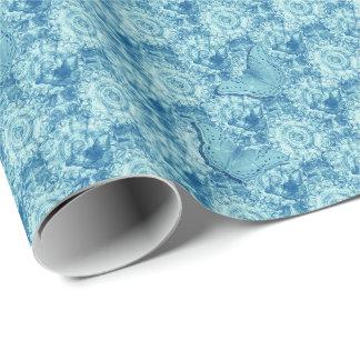 Butterflies blue tiled paper