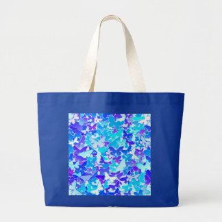 Butterflies, blue, turquoise, lavender large tote bag