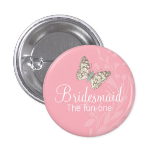 Butterflies Bridesmaid pink wedding pin / button