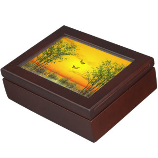Butterflies by sunset - 3D render Keepsake Box