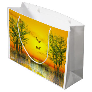 Butterflies by sunset - 3D render Large Gift Bag