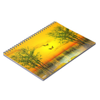Butterflies by sunset - 3D render Spiral Notebook