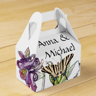 Butterflies Columbine Flowers Couple Favor Box Wedding Favour Box