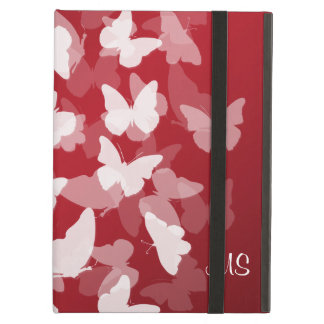 Butterflies Custom Initials Red iPad Air Cases