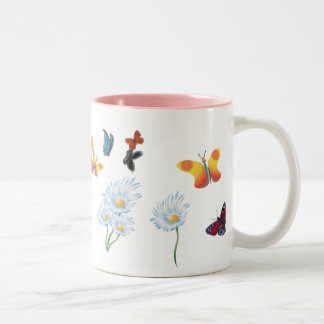 Butterflies & Daisies Two-Tone Coffee Mug