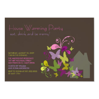 """Butterflies & Deco Leaves House Warming Party 5"""" X 7"""" Invitation Card"""