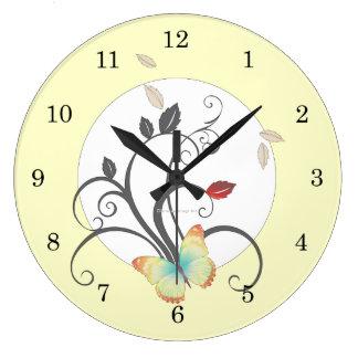Butterflies Flower Art Deco Wall Clock