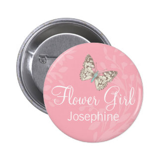 Butterflies Flower girl pink wedding pin / button