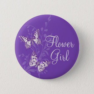 Butterflies flower girl purple wedding pin button