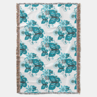 Butterflies & Flowers (blue) Blanket Throw
