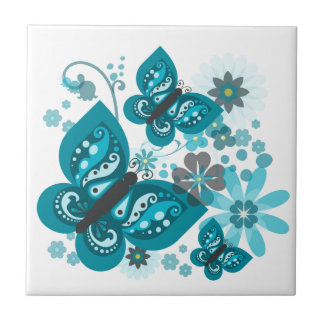 Butterflies & Flowers (blue) Ceramic Tile