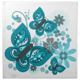 Butterflies & Flowers (blue) Cloth Napkins