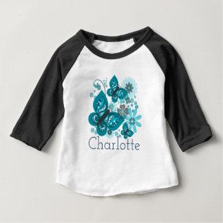 Butterflies & Flowers (blue) Long-Sleeved Baby Top