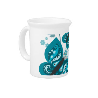 Butterflies & Flowers (blue) Pitcher/Jug Pitcher