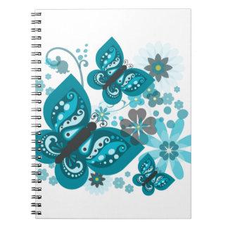 Butterflies & Flowers (blue) Spiral Notebook