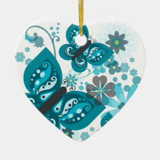 Butterflies & Flowers Dble-sided Heart Ornanent Ceramic Ornament