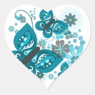 Butterflies & Flowers Heart Stickers (Blue)
