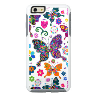 Butterflies & Flowers Retro Colorful Pattern OtterBox iPhone 6/6s Plus Case