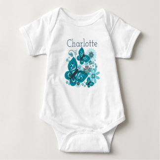 Butterflies & Flowers Vest (Blue) Baby Bodysuit