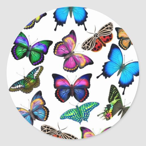 Butterflies Fluttering By Sticker