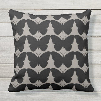 Butterflies-Fly-Free_Black-Gray-HOME-DECOR Outdoor Cushion