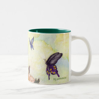 butterflies full of colours Two-Tone coffee mug