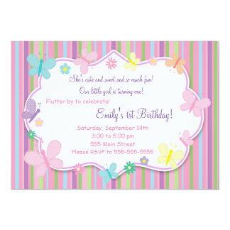 Butterflies Girl Birthday Invitation